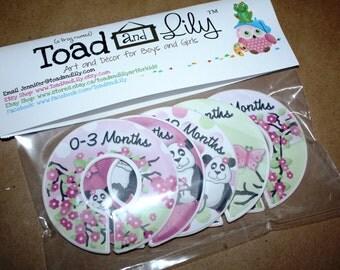 CLOSET DIVIDERS Cherry Blossom Panda Bear Girls Bedroom and Baby Nursery Art Decor CD0046