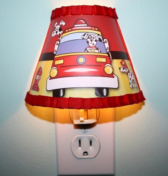 Boy Truck Lamp : Firetruck dalmation puppy night light for boys bedroom baby