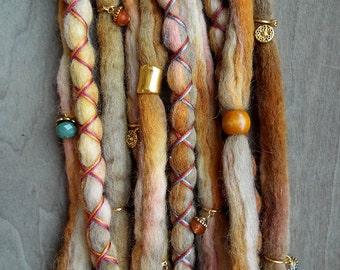 10 Fairytale Romance Jeweled Tie-Dye Wool Synthetic Dreadlock *Clip-in Extensions Boho Dreads Hair Wraps & Beads Custom