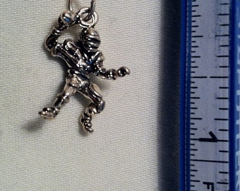 Football Player Charm Sterling Silver