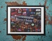 Down on Bourbon Street 22 x 28 Poster - New Orleans, LA