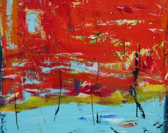 Large Abstract Landscape Painting Modern Art by Francine Ethier, 30x30 inches