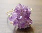 Amethyst Crystal Druzy Ring
