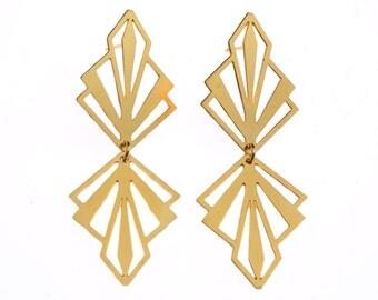 Nouveau Triangle Gold Earrings
