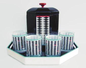 Vintage Georges Briard 26 Piece Barware Set Diamond Eye