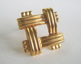 Vintage Gold Scarf Clip Woven Square