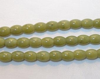 Serpentine Jade Barrel Beads 12mm, 16 Inch Strand