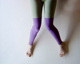 Colorblock Leggings in Solid Color Pastel Lavender and Mint, Color block fashion, Footless tights, Plus Size Available