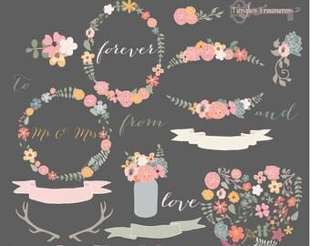 Instant Download - Mod Flowers in Pastels: Digital Clipart Set