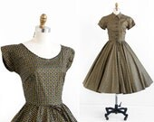 vintage 1950s dress / 50s dress / Painted Gold Party Dress with Matching Bolero and Lace Up Back