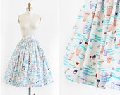 vintage 1950s skirt / 50s skirt / Beach Novelty Print Cotton Skirt