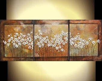 """Large painting metallic textured abstract acrylic palette knife floral daisies painting 48x20x.75"""""""