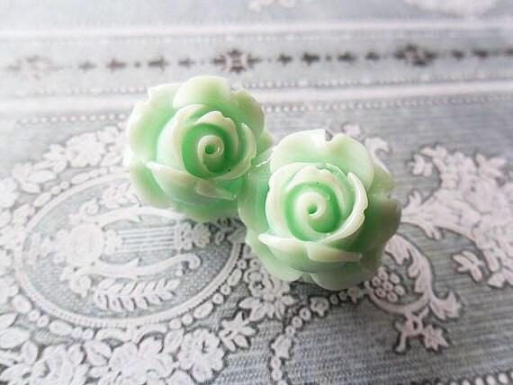 items similar to sea foam rose stud earrings light mint. Black Bedroom Furniture Sets. Home Design Ideas
