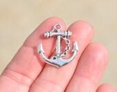 BULK 20 Silver Anchor with Chain Charms SC1082