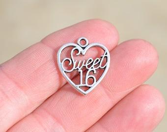 1 Silver Sweet 16 Charm SC1612