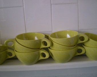 Vintage Melmac Melamine Chartreuse Green  Cups Set of 5