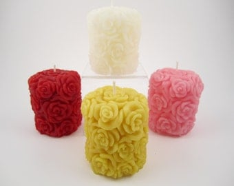 Rose Beeswax Solid Pillar Candle - Extremely Detailed