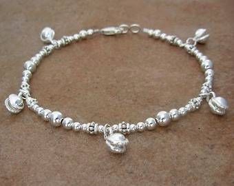 Sterling Silver Jingling Bell Anklet - Small to Plus Size Ankle Bracelet - 9 Inch, 10 Inch, 11 Inch, 12 Inch, 13 Inch or 14 Inch