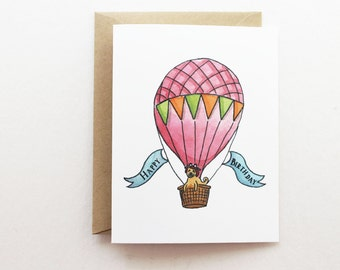 Birthday Card - Hot Air Balloon Red