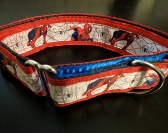 Spiderman Martingale Dog Collar (Lg)