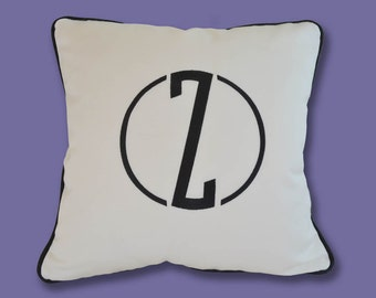 EMBROIDERY MONOGRAM PILLOW - New Style and Colors - White Sunbrella - Indoors or Outdoors - Any Color - Any Size