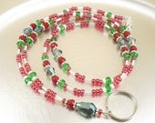 Christmas Spirit Beaded Lanyard, ID Badge Holder, ID Necklace - Red, Green and White