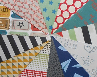 DESTASH - Crate Paper Boys Rule: Tickets - Pack of 12 Different Scrapbook Papers, 6 inch X 6 inch