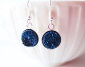 Cobalt blue druzy earrings.  Druzy dangle earrings.  Titanium agate earrings.  Titanium druzy.  Silver druzy earrings.