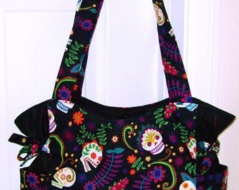 Floral Sugar Skulls - Handbag, Purse, Tote, Shoulder Bag, Outside Pockets