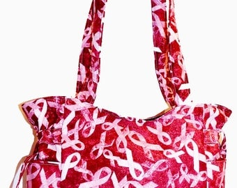 Burgundy Red Pink Ribbons - Handbag, Purse, Tote, Shoulder Bag, Outside Pockets