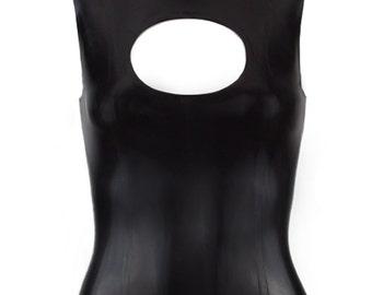 Latex Keyhole Collar Top