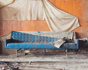Vintage Blue Couch Photography, Still Life Architecture Photograph, Urban Decay Photography, Abandoned Sewing Factory, Bright Blue Wood