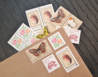 English .. Garden .. Vintage UNused Postage Stamps .. to post 5 letters