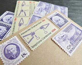 Era of Eminence .. UNused Vintage Postage Stamps  .. post 5 letters