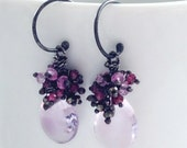 February Birthstone France Pink Amethyst, pink garnet, pyrite Mini Chandelier earrings in Oxidized Sterling Silver