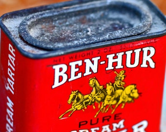 BEN-HUR Pure Cream of Tartar...  antique tin can...   Home Decor...   p3-4 L