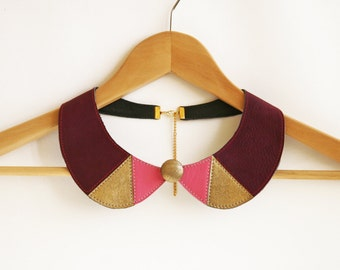 Leather Necklace Purple Metallic Gold Leather Collar Bib Necklace Purple Jewelry Europeanstreetteam Triangles Leather Necklace