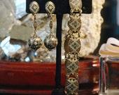 Reserved for D - Damascene Earrings Bracelet, SPAIN, Green Yellow Black White Enamel, Ball Pendant, Oval Links, Excellent Condition