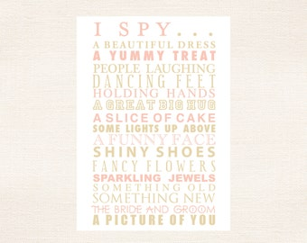I Spy Cards Children's Activities For Weddings and Parties - Blush and Antique Gold