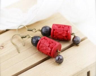 Oriental red earrings - cinnabar and snowflake obsidian