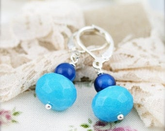 Blue candy earrings - chalcedony and quartzite