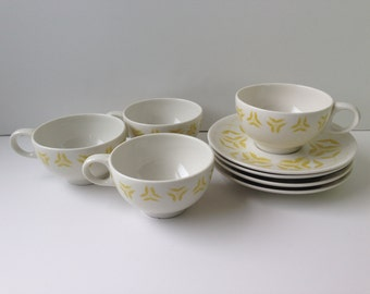 Caribe Casual Teacups and Saucers, Set of Four