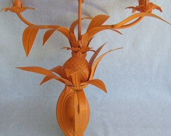 REDUCED! Hollywood Regency Pineapple Tole Metal 3 Arm Candelabra Wall Sconce Vintage Candleholder