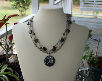 Moss Agate and Rutilated Quartz Necklace