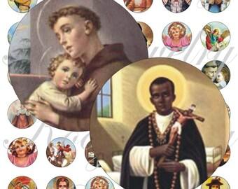 Saints images for bottle caps, pendant, buttons, scrapbook and more Vintage Digital Collage Sheet No.1345