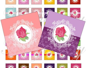 Shabby chic roses 1x1 inch for pendant, scrapbook and more Digital Collage Sheet No.1502