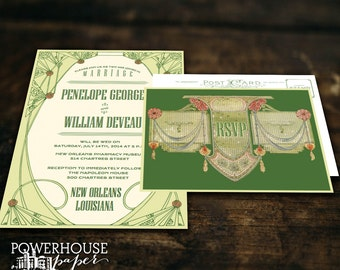 Vintage Deco Postcard Wedding Invitation