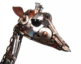 Recycled Metal Sculpture Giraffe Art Assemblage - Edmund