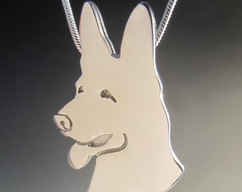 Engravable Large Smiling German Shepherd Necklace