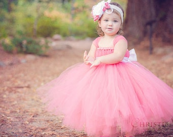 Coral Flower Girl Tutu Dress